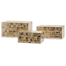 Christmas Gold Glass Mosaic Boxes Set of 3