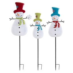 IMAX 80606-3 Whimsy Christmas Snowman Yard Stakes Set of 3