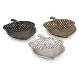 Harvest Aluminum Acorn Dishes Assortment of 3