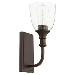 Quorum 5411-1-186 Sconce Richmond 1 Lamp Oiled Bronze Glass or Shade Clear Seeded Medium 100 Watt