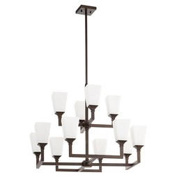 Quorum 6123-12-86 Chandelier Wright 2 Tier 12 Lamp Oiled Bronze Glass or Shade Opal Medium 60 Watt