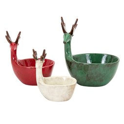 Homestead Christmas Reindeer Dishes Set of 3