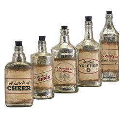 IMAX 82144-5 Homestead Christmas Vintage Label Glass Bottles Set of 5