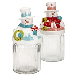 IMAX A0288751 Whimsy Christmas Snowman Jars Assortment of 2