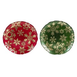 IMAX A0288991 Christmas Snowflake Glass Plates Assortment of 2