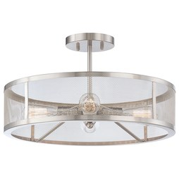 Minka 4134-84 Ceiling Light Downtown Edison Semi-Flushmount 4 Lamp Brushed Nickel E26 ST58