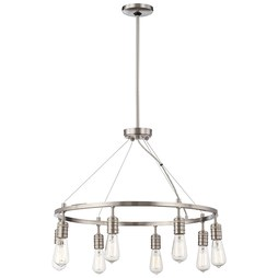 Minka 4138-84 Chandelier Downtown Edison 8 Lamp Brushed Nickel E26 St58