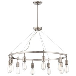 Minka 4139-84 Chandelier Downtown Edison 10 Lamp Brushed Nickel E26 St58
