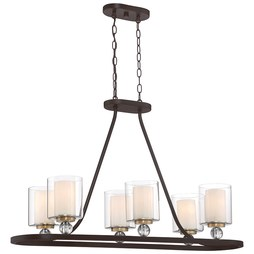 Minka 3076-416 Pendant Studio 5 Island 5 Lamp Painted Bronze/Natural Brushed Brass Glass or Shade A19 Medium 100 Watt