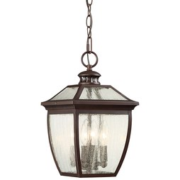Minka 72524-246 Pendant Sunnybrook Outdoor Chain Hung 4 Lamp Alder Bronze Glass or Shade Seedy B10.5 Candelabra 60 Watt