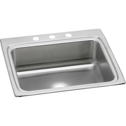 "Elkay LR25223 Gourmet 25"" Stainless Steel Single Bowl Drop-In Kitchen Sink for Widespread Faucet"