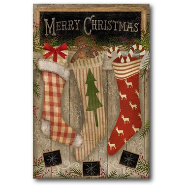WRAPPING PAPER SANTA CLAUS 2.5FT x 5FT CHRISTMAS CLASSIC HOLLY FRAME RED PLAID