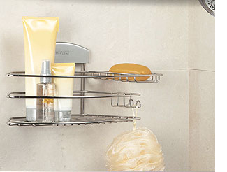 Get organized with shower caddies and shelves.