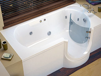 Walk-in tubs allow easy access.