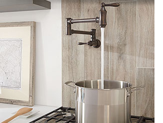 Pot filler faucets eliminate having lug heavy pots of water from the sink to the stove.