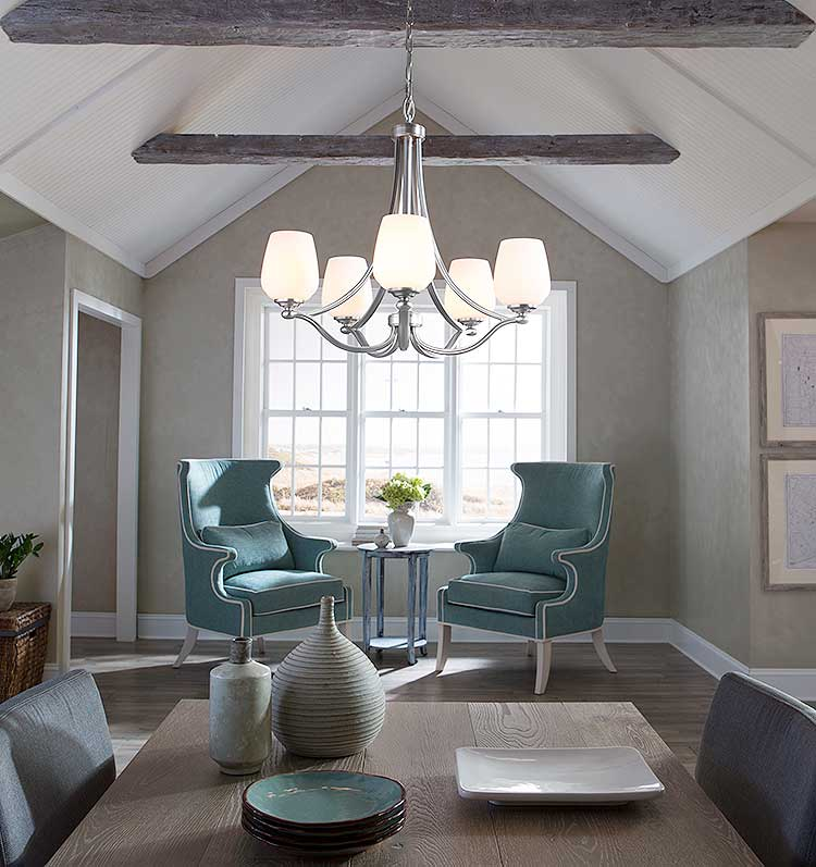 In addition to size, consider light layering from other sources, placement in the room, and how the chandelier will flatter your space.