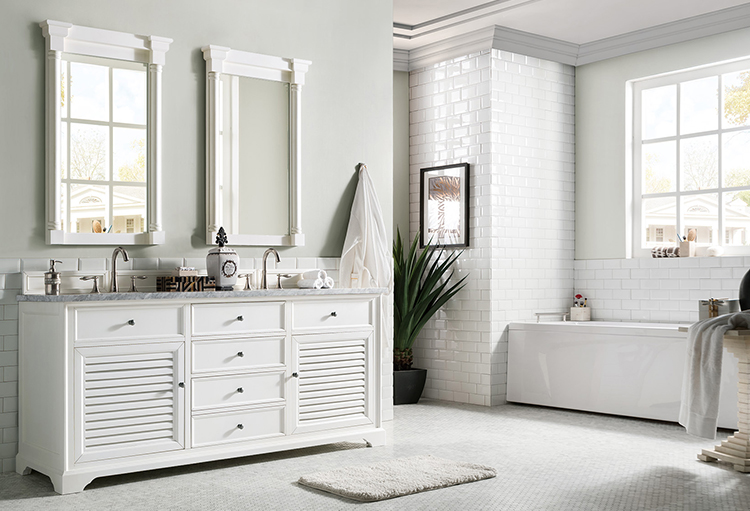 A double vanity is a great choice for shared bathrooms.