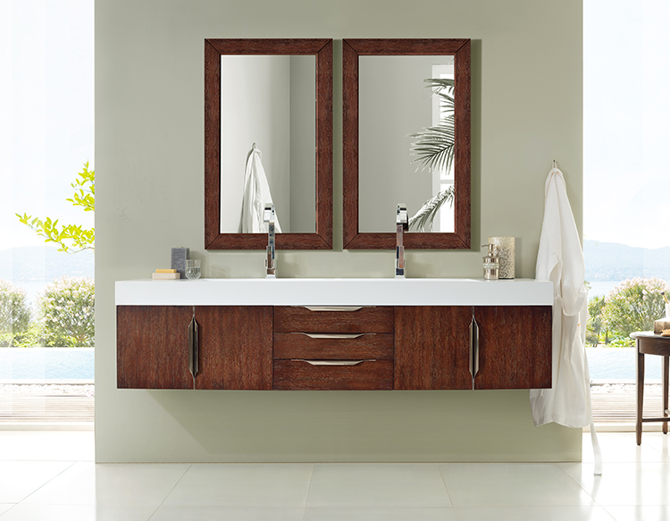 A wall-mounted floating bath vanity uses less floor space.