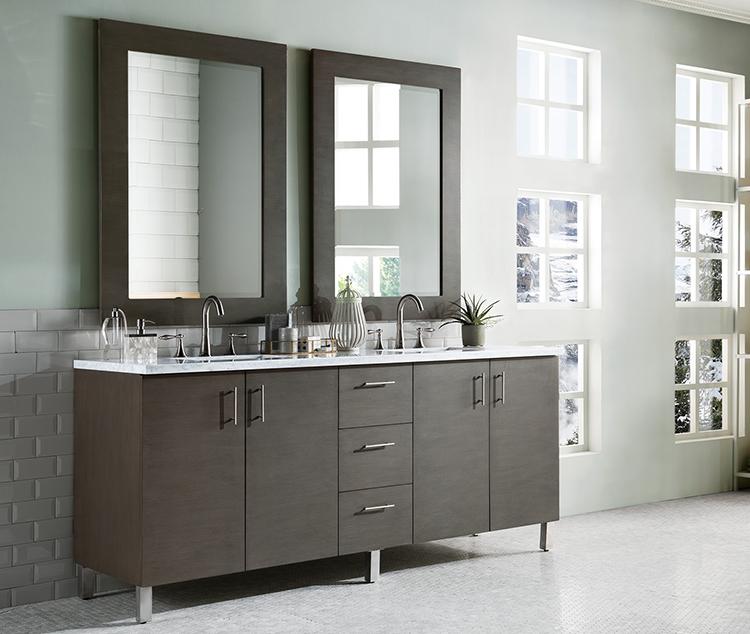 Modern bath vanities are sleek with minimal details.