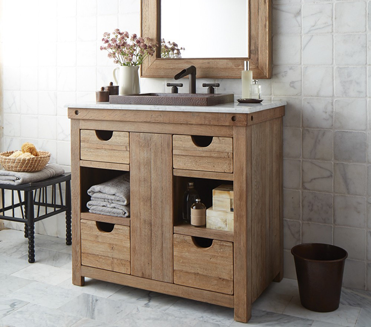 Rustic or farmhouse style bath vanities showcase natural woods with warm feel.