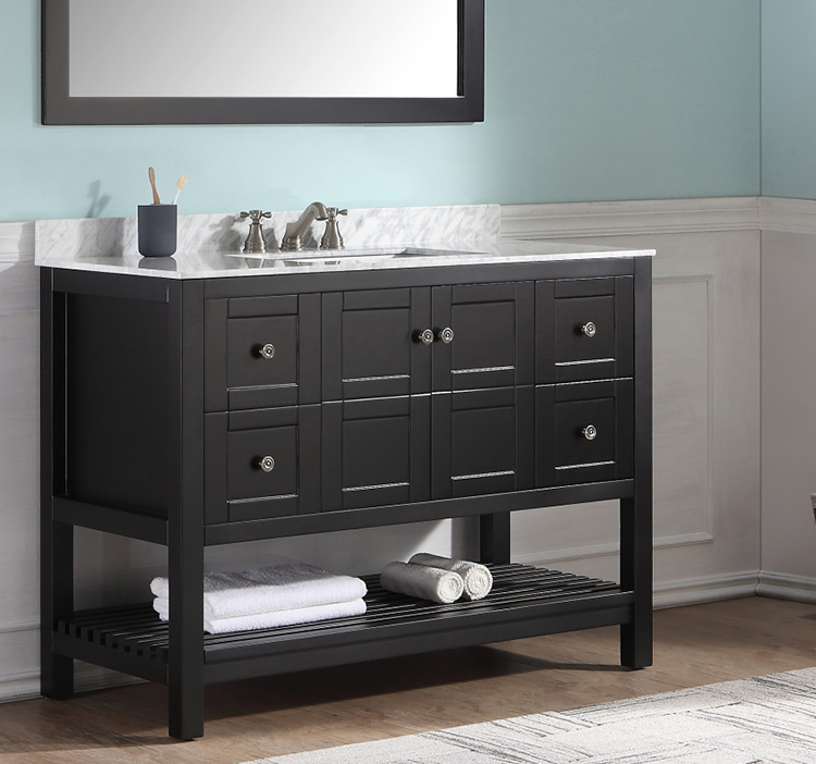 Transitional bath vanities are a blend of modern and traditional elements.