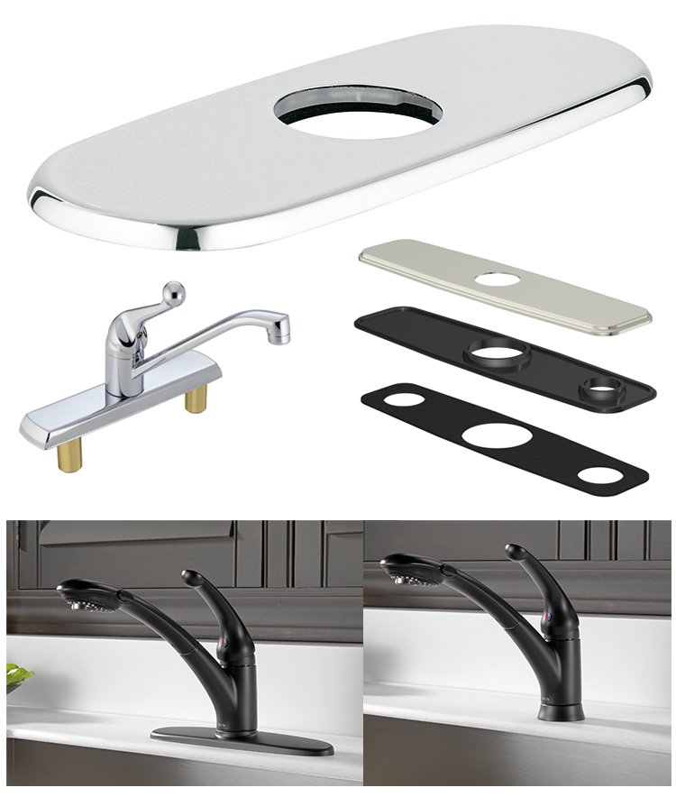 escutcheon, deck plates, and cover plates can all cover unused sink holes.