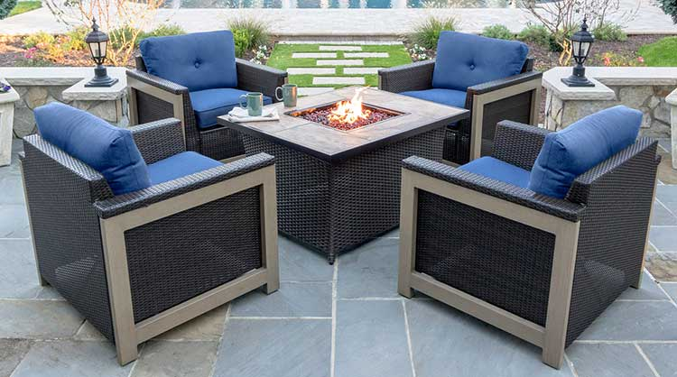 A fire pit offers warmth and a great place to sit and chat.