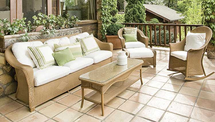 Outdoor furnishings are designed to withstand sun and moisture.