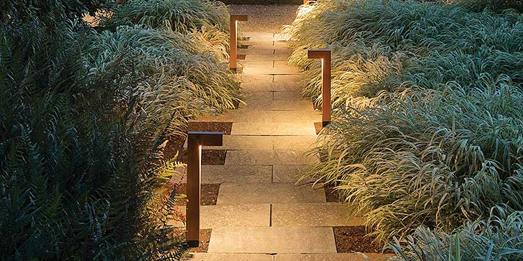 A well-lit path adds safety and ambiance.