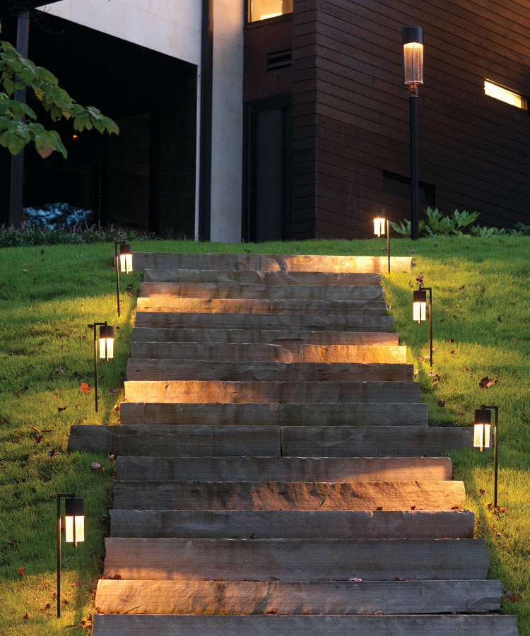 Landscape lighting improves visibility and highlights features for added ambiance.