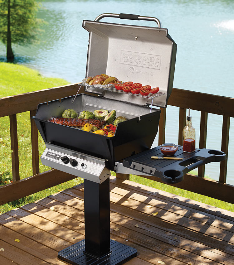 Post-mounted grills require less floor space than other models.