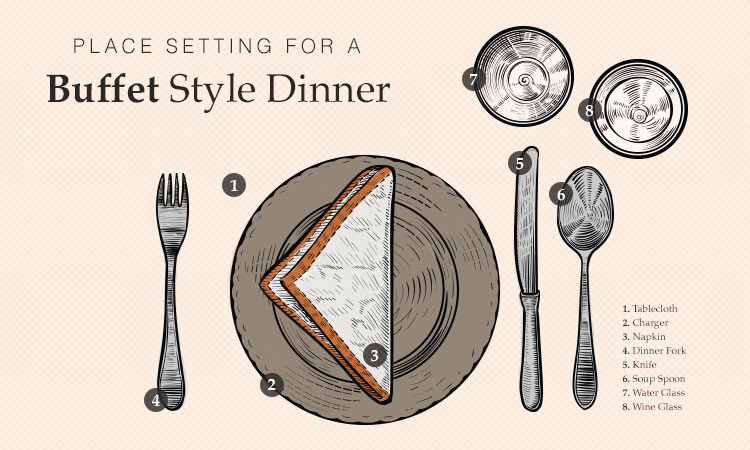 A buffet style dinner allows for easy and relaxed entertaining.